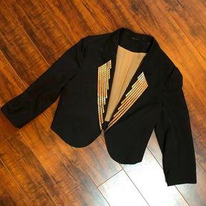 Vintage Black Bronze Cropped Blazer Jacket sz …